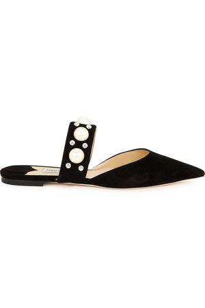 Jimmy Choo Women Flat Shoes - Basette embellished suede flats