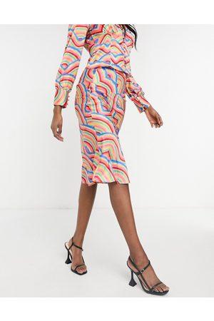 Never Fully Dressed Satin slip skirt set in rainbow tile print-Multi