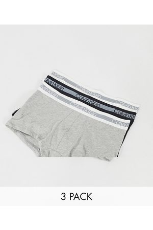Calvin Klein 3 pack trunks with logo waistband in black white and gray-Multi
