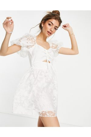 Topshop Organza dress with cutout detail in