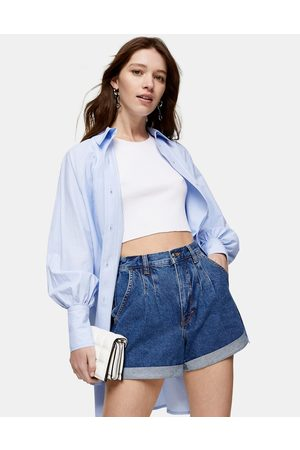 Topshop Balloon leg shorts in mid-wash blue-Blues