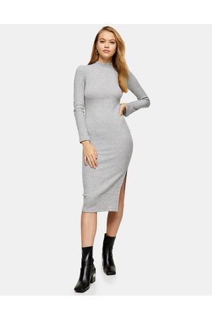 Topshop Wrapped rib midi dress in -Grey