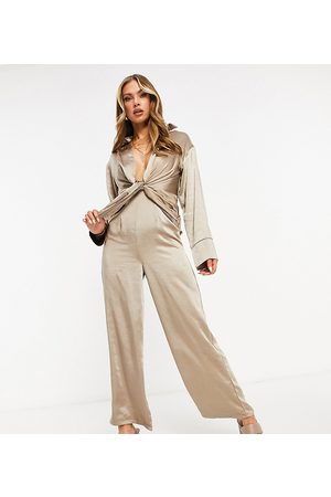 EI8TH HOUR Long sleeved plunge front jumpsuit in -Grey
