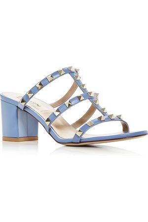 VALENTINO GARAVANI Women's Rockstud Block Heel Slide Sandals