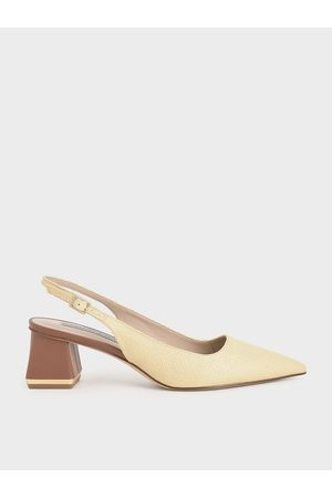CHARLES & KEITH Raffia Metallic Accent Slingback Pumps