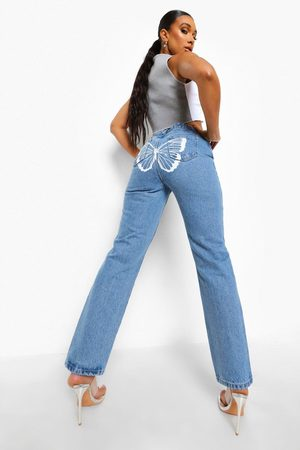 Boohoo Womens Straight Leg Jeans With Butterfly Back Print - - 2