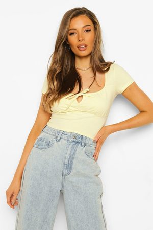 Boohoo Womens Gathered Bust Tie Front Top - - S