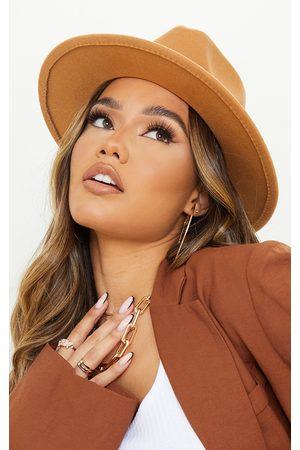 PRETTYLITTLETHING Women Hats - Tan Fedora Hat