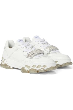 Jimmy Choo Diamond X/F embellished leather sneakers