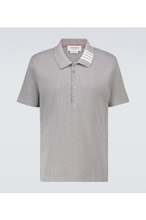 Thom Browne Men Polo Shirts - Knitted cotton short-sleeved polo