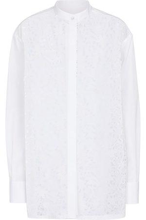 VALENTINO Cotton-blend macramé shirt