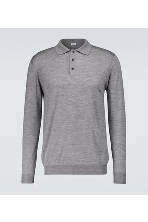CARUSO Long-sleeved knitted polo shirt