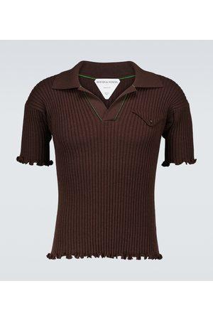 Bottega Veneta Men Polo Shirts - Ribbed wool short-sleeved polo