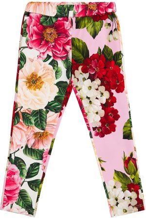 Dolce & Gabbana Girls Leggings - Floral stretch-cotton leggings