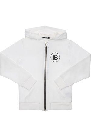 Balmain Girls Sweatshirts - Cotton Sweatshirt W/ Logo Print