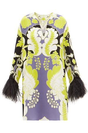 VALENTINO Feather-trimmed Arazzo-print Silk-cady Mini Dress - Womens - Print