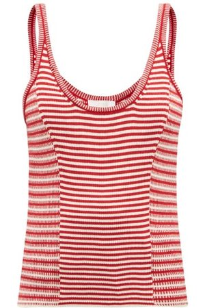 Chloé Women Camisoles - Scoop-neck Striped Cotton Knitted Tank Top - Womens