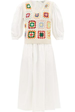 SEA Gabriela Crocheted-vest Cotton-blend Midi Dress - Womens - Multi