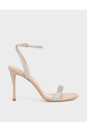 CHARLES & KEITH Glitter Ankle Strap Stiletto Heels