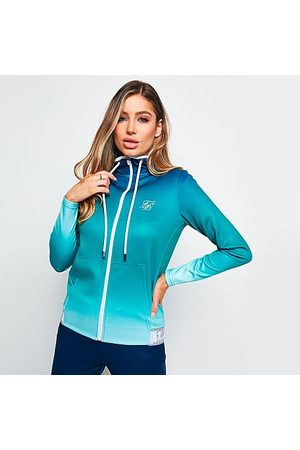 SikSilk Women's Fade Hooded Track Jacket in /Navy Size X-Small Cotton/Silk