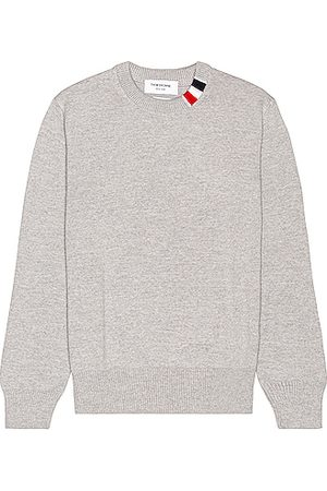 Thom Browne Relaxed Fit Crewneck Sweater in Light Grey