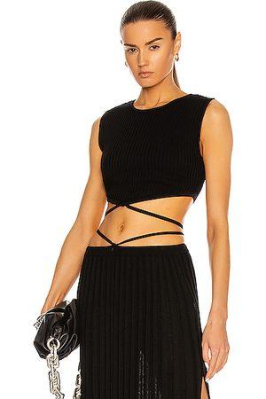 CHRISTOPHER ESBER Women Crop Tops - Sleeveless Knit Tie Crop Top in
