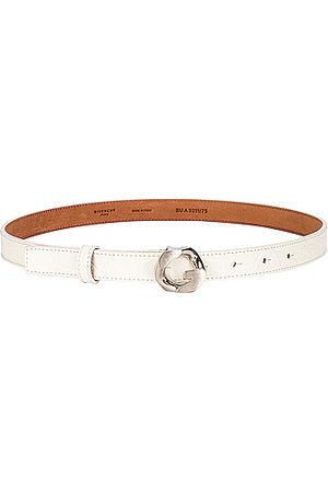 Givenchy Women Belts - G Chain Embossed Croc Buckle Belt in Ivory