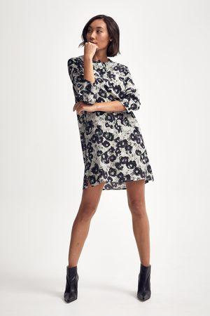 Lindsay Nicholas New York Silk Shirt Dress in Black/White/Purple Peony