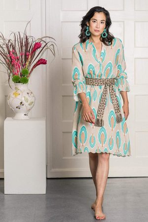 Nimo with Love Foxglove Dress in Ikat Nude Turquoise