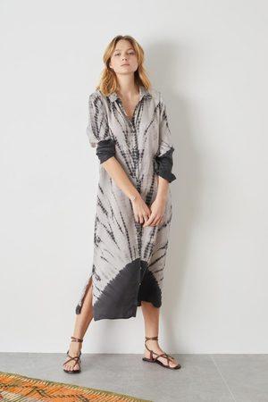 Leon & Harper Women Casual Dresses - Reverence Carbone Tie-Dye Shirt Dress