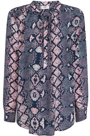 MERCY DELTA Women Shirts - Stowe Python Silk Shirt Navy and Pink