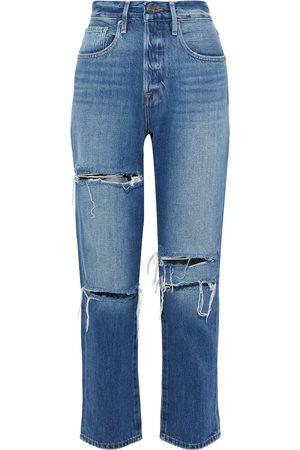 Frame Woman Le Original Cropped Distressed Boyfriend Jeans Mid Denim Size 26