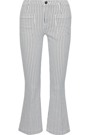 Frame Women Flares - Woman Le Bardot Crop Flare Striped Mid-rise Kick-flare Jeans Size 25