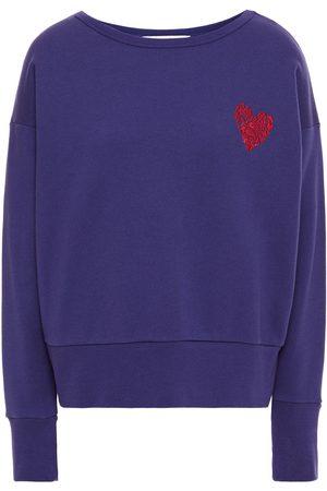 Être Cécile Women Sweatshirts - Être Cécile Woman Camou Heart Embroidered Cotton-fleece Sweatshirt Royal Size L