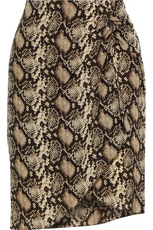 NILI LOTAN Women Printed Skirts - Woman Hazel Wrap-effect Snake-print Silk Crepe De Chine Mini Skirt Animal Print Size 0