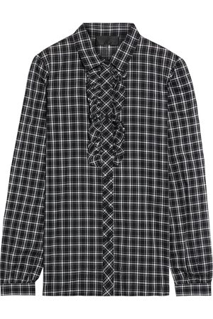 NILI LOTAN Women Long sleeves - Woman Rosie Ruffle-trimmed Checked Cotton-voile Shirt Size L