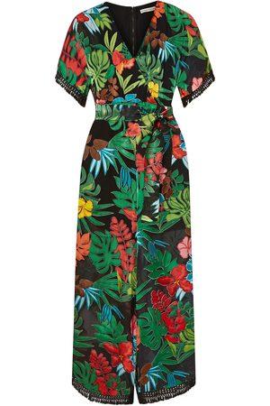 ALICE+OLIVIA Women Jumpsuits - Woman Kasia Cropped Floral-print Burnout Chiffon Jumpsuit Forest Size 0
