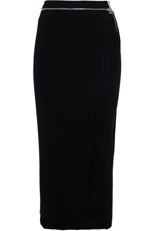 Helmut Lang Women Midi Skirts - Woman Layered Zip-detailed Ribbed Merino Wool-blend Midi Skirt Size S