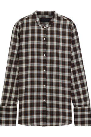 NILI LOTAN Women Long sleeves - Woman Judith Checked Cotton-voile Shirt Dark Size M