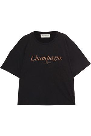 Être Cécile Women Short Sleeve - Être Cécile Woman Juliette Champagne Metallic Printed Cotton-jersey T-shirt Size L