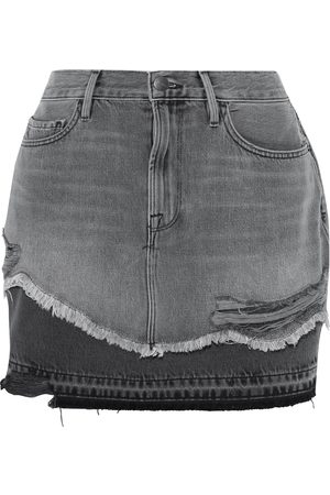 Frame Women Mini Skirts - Woman Le Mini Distressed Denim Mini Skirt Anthracite Size 23