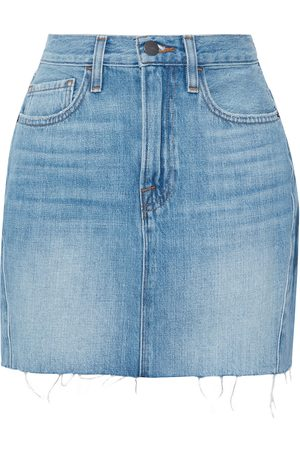 Frame Woman Le Mini Frayed Denim Mini Skirt Mid Denim Size 26