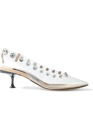Sergio Rossi Woman Crystal-embellished Pvc Slingback Pumps Clear Size 35