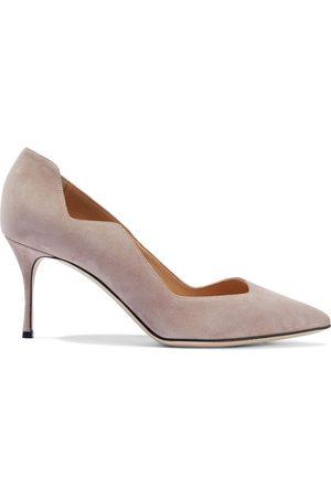 Sergio Rossi Women Pumps - Woman Scalloped Suede Pumps Blush Size 37