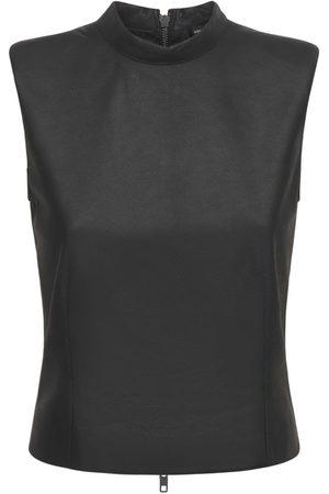 ANN DEMEULEMEESTER Women Tank Tops - Angelina Sleeveless Leather Top