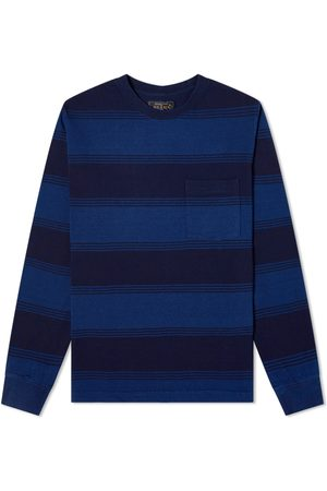 Beams Men Long Sleeve - Indigo Stripe Pocket Tee