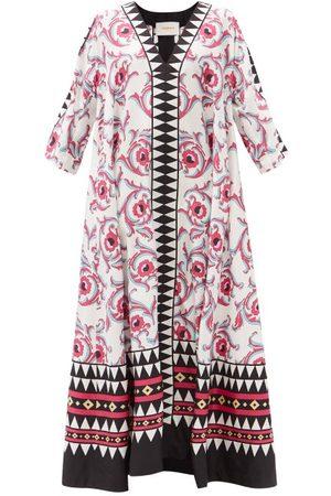 La DoubleJ Muumuu Placement-print Silk-twill Kaftan Dress - Womens - Multi