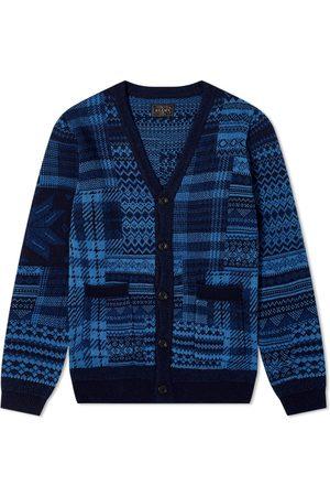 Beams Indigo Knit Cardigan Patchwork-Like Cardigan