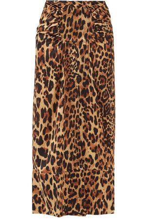 Paco rabanne Gathered Leopard-print Satin Midi Skirt - Womens - Leopard