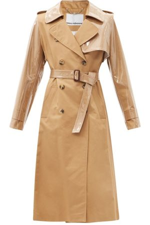 Paco rabanne Women Trench Coats - Belted Gabardine And Pvc Trench Coat - Womens - Camel